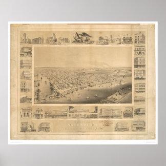 Sacramento, CA. Panoramic Map 1857 (0066A) Poster