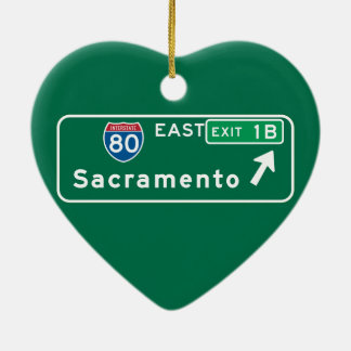 Sacramento, CA Road Sign Ceramic Heart Decoration