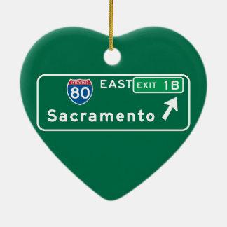 Sacramento, CA Road Sign Christmas Ornament