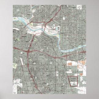 Sacramento California Map (1992) Poster
