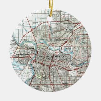 Sacramento California Map (1994) Christmas Ornament
