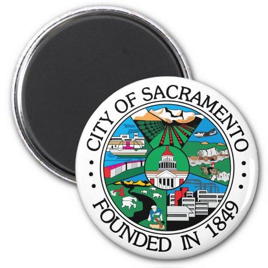 Sacramento city seal 6 cm round magnet