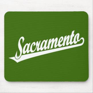 Sacramento script logo in white mousepads