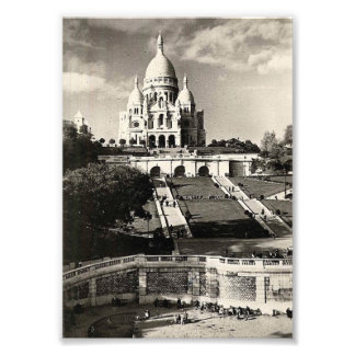 Sacré Coeur vintage black and white Photographic Print