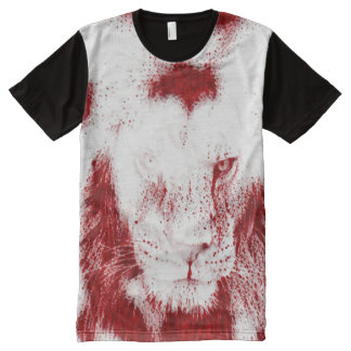 Sacred Blood Lion Wildlife Art Graphic Tee All-Over Print T-Shirt