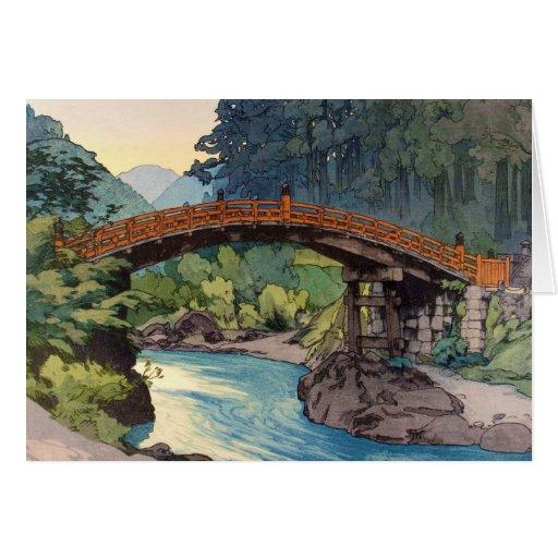 Sacred Bridge in Nikko Hiroshi Yoshida hanga art Greeting Card
