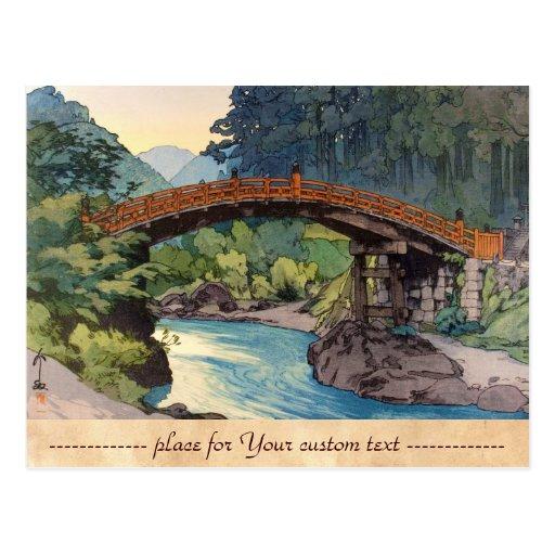 Sacred Bridge in Nikko Hiroshi Yoshida hanga art Post Cards