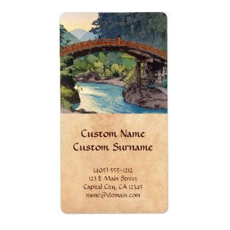 Sacred Bridge in Nikko Hiroshi Yoshida hanga art Shipping Label