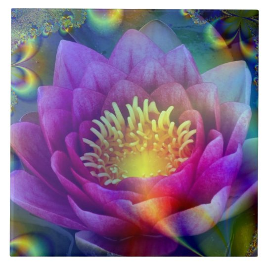 Sacred flower of Peace and Love Large Square Tile