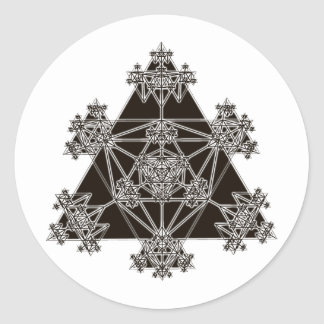 Sacred Geometry: Black Triangles: Classic Round Sticker