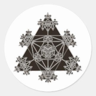 Sacred Geometry: Black Triangles: Round Sticker
