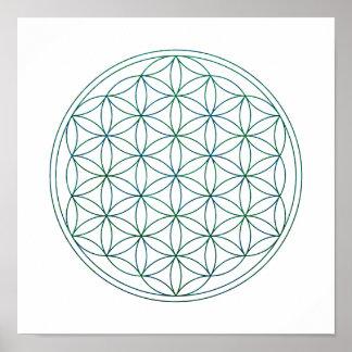 Sacred Geometry Flower Of Life (V-Earth) Poster