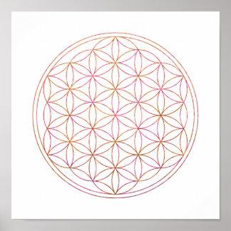 Sacred Geometry Flower Of Life (V-Sunset) Poster