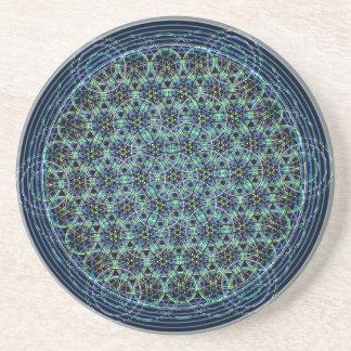 Sacred Geometry Mandala - Rain Flower of Life Sandstone Coaster