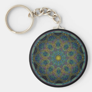 Sacred Geometry Mandala: Sincerity - Hand Drawn Basic Round Button Key Ring