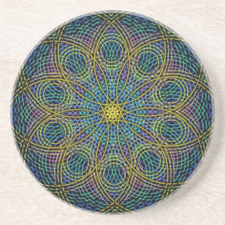 Sacred Geometry Mandala: Sincerity - Hand Drawn Sandstone Coaster