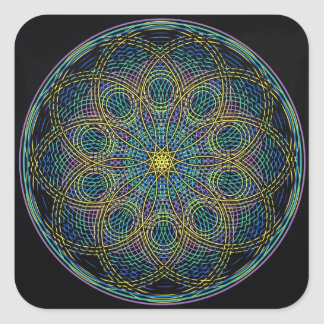 Sacred Geometry Mandala: Sincerity - Hand Drawn Square Sticker