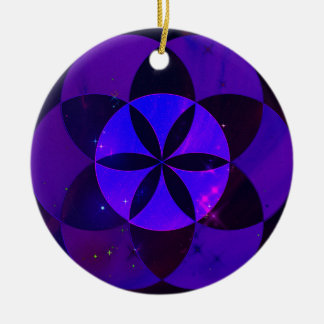 Sacred Geometry Seed of Life Pattern Space Scenery Round Ceramic Decoration