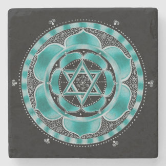 Sacred geometry stone coaster