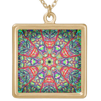 "Sacred Geometry ""Tribal Masks"" by Mar Gold Plated Necklace"