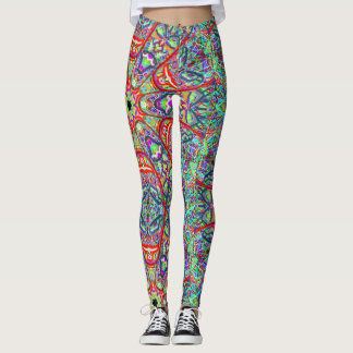 Sacred Geometry Tribal Masks Leggings by Mar
