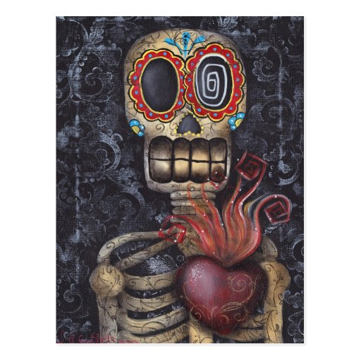 Sacred Heart Day of the Dead Postcard
