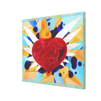 Sacred Heart Graffitti Painting Gallery Wrapped Canvas