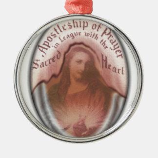 Sacred Heart Jesus Christian Catholic Modern Art Silver-Colored Round Decoration