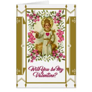 Sacred Heart Jesus Valentine Flowers Gold Border Greeting Card