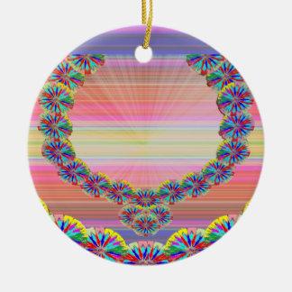 Sacred Heart - Jewels n Garlands by Navin Joshi Round Ceramic Decoration