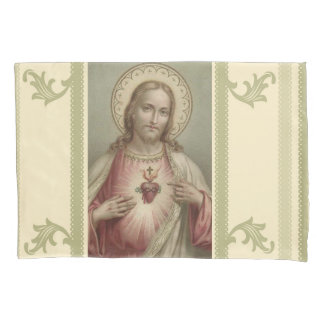 Sacred Heart of Jesus Decorative Border Pillowcase