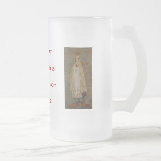 Sacred Heart of Jesus, Immaculate Heart of Mary Frosted Glass Beer Mug