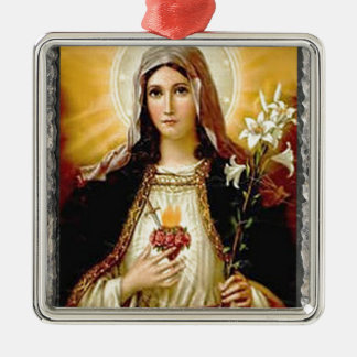 SACRED HEART OF MARY 10 CUSTOMIZABLE PRODUCTS Silver-Colored SQUARE DECORATION