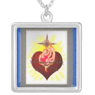 sacred heart sentiment square pendant necklace