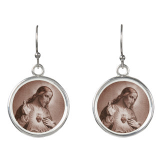 Sacred Heart with Cross Earrings