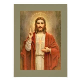 Sacred Heart with Halo 14 Cm X 19 Cm Invitation Card