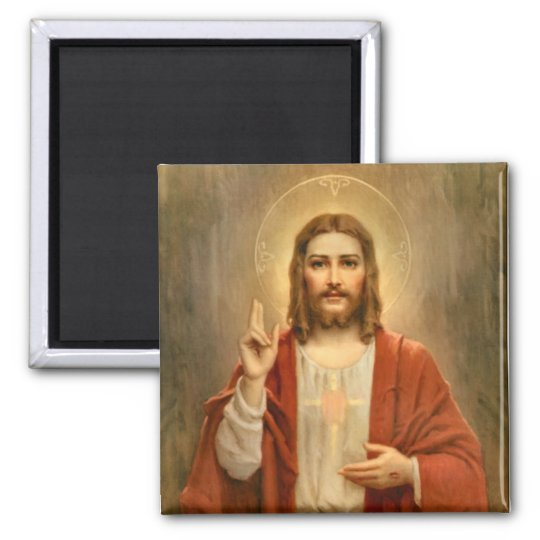 Sacred Heart with Halo Square Magnet