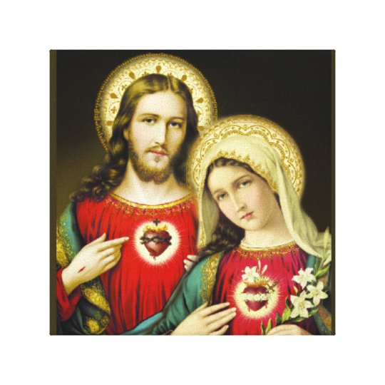 Sacred Jesus Immaculate Heart Mary Canvas Print