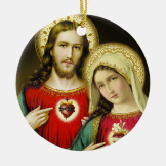 Sacred Jesus Immaculate Heart Mary Christmas Ornament