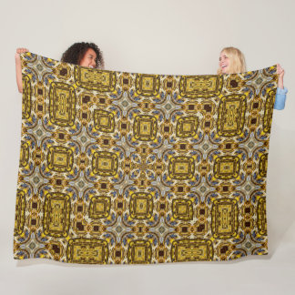 Sacred Mayan Gold Topaz Pattern Quilt Fleece Blanket