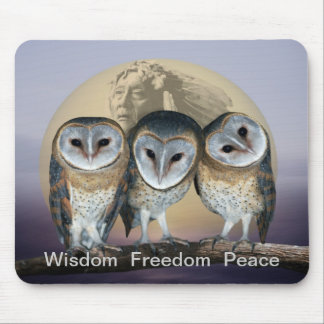 Sacred Owl North American Indian Mouse Mat