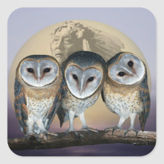 Sacred Owl North American Indian Square Sticker