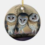 Sacred owls christmas tree round ceramic decoration