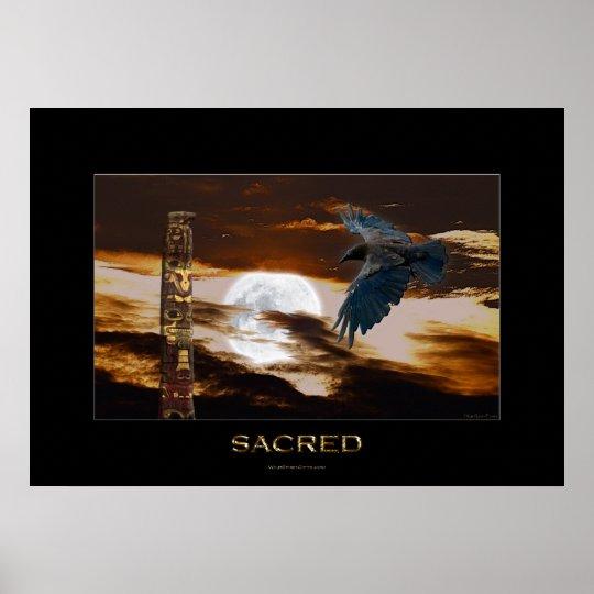 SACRED Raven, Moon & Totem Pole Art Poster