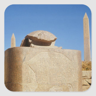 Sacred scarab statue in the Temple of Amun Square Sticker