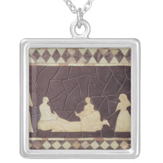 Sacrificial scene silver plated necklace