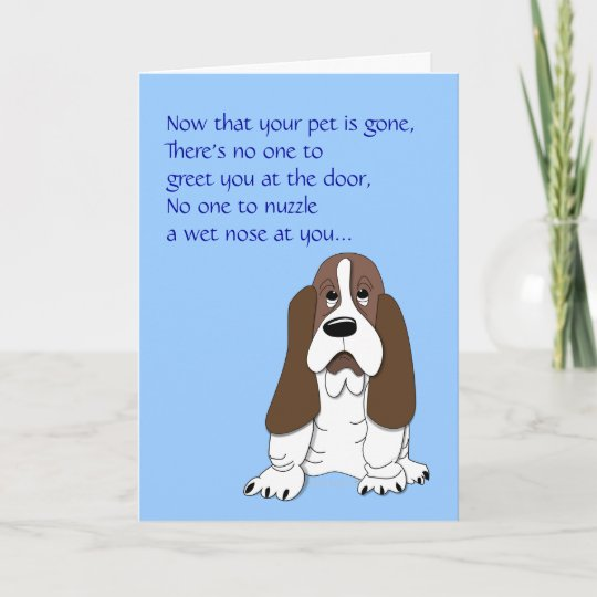 Loss Of Pet >> Sad Basset Hound Funny Dog Sympathy Loss Of Pet Card Zazzle Co Uk