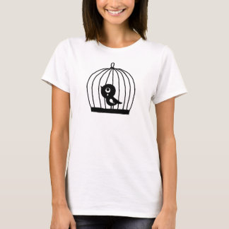 Sad Bird T-shirt Cute Bird in Cage Graphic tee