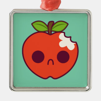 Sad Bitten Red Apple on a Green Background Christmas Ornaments