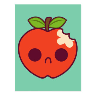 Sad Bitten Red Apple on a Green Background Postcards
